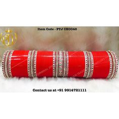 "Punjabi Traditional ""Peral/Gold & Kundan Red Wedding Choora"" #sydney…"