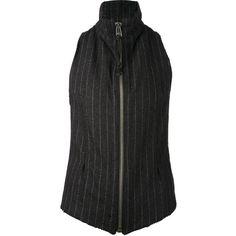 GREG LAUREN zip neck vest (£984) found on Polyvore featuring outerwear, vests, black, black waistcoat, racerback vest, zipper vest, black zipper vest and black zip vest
