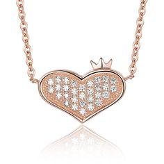 Rose Gold Heart With Crown Pendant Necklace Jewellery