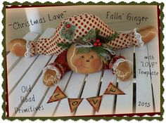 """***NEW*** ~Christmas Love~ Falln' Ginger Pattern from """"Old Road Primitives""""!"""
