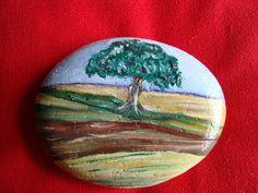 Galet peint, peinture miniature huile sur pierre, paysage : Peintures par ricochet
