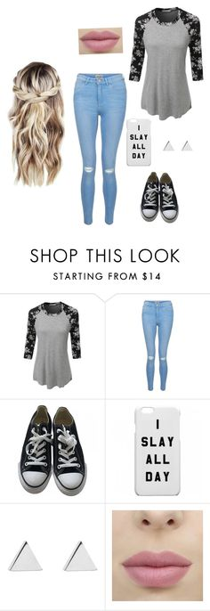 """""""I Slay All Day"""" by laurenbrgr ❤ liked on Polyvore featuring LE3NO, New Look, Converse and Jennifer Meyer Jewelry"""
