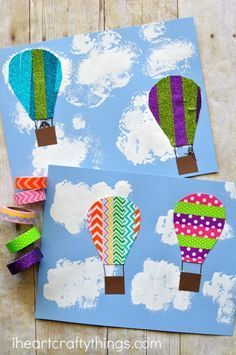 This colorful washi tape hot air balloon craft is perfect for an afternoon kid craft and is fun for kids of all ages. Summer kids craft, spring kids craft, washi tape crafts, preschool craft, fine motor activity and preschool activity.