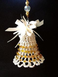 CROCHET BELL CHRISTMAS ORNAMENT, free pattern and how to video