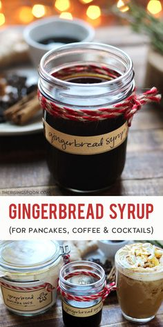 In the mood for a sweet & spicy treat? Learn how to make a batch of homemade gingerbread syrup on the stovetop with simple ingredients like water, sugar, fresh ginger, molasses, and whole spices. Drizzle the syrup on pancakes or waffles, use it to make a flavored coffee or gingerbread latte (Starbucks copycat), or stir it into fall & winter cocktails for a warming & fragrant kick. Keep reading for the easy recipe + ideas for uses. (gluten-free, grain-free, dairy-free & vegan) Winter Cocktails, Coffee Cocktails, Grain Free, Dairy Free, Gluten Free, Gingerbread Recipes, Gingerbread Houses, Easy Desserts, Health