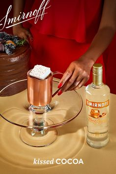 The only thing better than baking your desserts...is drinking them.    Kissed Cocoa Recipe:  2 oz Smirnoff Kissed Caramel 8 oz  Milk 2 tbsp dark chocolate syrup A large square marshmallow