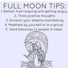 Full moon tips: think positive thoughts, envision your dreams manifesting . Think Positive Thoughts, Positive Vibes, Full Moon Ritual, Full Moon Spells, Moon Magic, Practical Magic, Moon Goddess, Moon Phases, Book Of Shadows