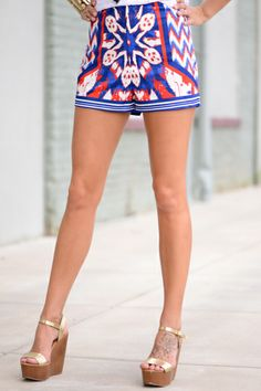 OBSESSED! This is not your average, every day pair of shorts! The pattern is nothing short of fabulous and the colors are perfect for the Fourth of July! Independence Day here we come!