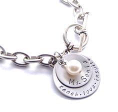 """Teach, Love, Inspire"" Personalized Teacher's Bracelet - Jewelry gift - $19 - Personalize the discs anyway you wish!"