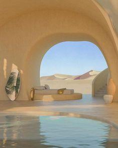 Desert Villa Collaboration between and creati. Architecture Design Concept, Organic Architecture, Interior Architecture, Interior And Exterior, Architecture Diagrams, Minimalist Architecture, Architecture Portfolio, Exterior Rendering, Futuristic Architecture