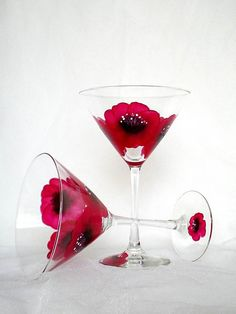 Handpainted martini glasses