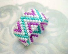 Beadwork Peyote Ring Zig-Zag Blue Brown White by MadeByKatarina