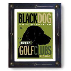 Labrador Golf Art Black Dog Personalized Gift. $44.00, via Etsy.