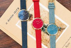 Introducing: Denim Watches by RumbaTime. Oh ok, we got denim sneakers, denim bags, denim sofas and denim chairs. So how about adding some very cool watches Denim Sofa, Denim Sneakers, Denim Bag, Cool Watches, Daniel Wellington, Soho, Indigo, New York, Bags