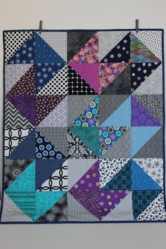 Modern Baby Quilt Declan Baby Blanket Triangles Blue Purple Teal Pink Lap Quilt Play Mat Wall Art