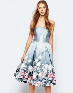 Chi Chi London Bandeau Midi Dress in Sateen Floral Print