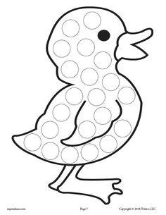 12 Spring Do-A-Dot Printables! Preschool Art Projects, Craft Projects For Kids, Preschool Crafts, Duck Crafts, Animal Crafts, Easter Crafts, Spring Coloring Pages, Do A Dot, Spring Crafts For Kids