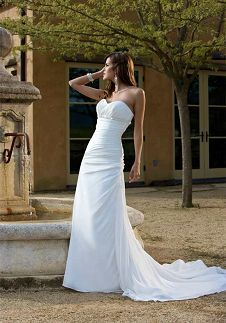 A-Line Sweetheart Floor Length Attached Satin/ Chiffon Beading Wedding Dress Style D797