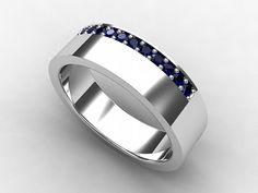 Men's Blue sapphire wedding band made from Titanium  by TorkkeliJewellery, $829.00