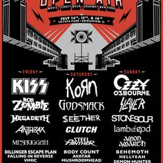 Friday 14 July 2017 – Sunday 16 July 2017  Chicago Open Air 2017 Line-up: Korn, Kiss, Ozzy Osbourne, Seether, Megadeth, Rob Zombie, Godsmack, Stone Sour, Slayer, Lamb of God, and more… Toyota Park, Bridgeview, IL, US