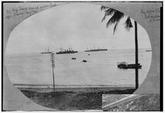 "Original caption from album reads: ""NZ Exp Force arrived inside reef, Apia, Samoa, Aug 1914"". Photographer unidentified."