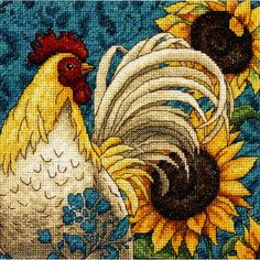 """Gold Collection Petite Rooster Counted Cross Stitch Kit-6""""X6"""" 18 Count"""