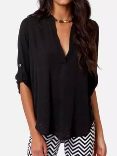 Black V-neck Roll-up Long Sleeve Blouse | Choies