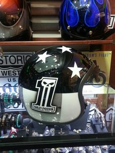 Custom paint Harley number 1, 3/4 cafe drag helmet. www.ridersdna.com