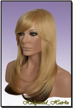 Hollywood_hair4u - Long Layered Blond and Warm Brown Wig Heat Resistant Synthetic Fiber Skin Top *NEW* by Hollywood_hair4u. $43.99. Usually ships the same day with hair care instruction.. You can restyle the wig with curling iron.. Color is H14 / 24 Natural Blond with Warm Brown underneath, Length is 20 inches / 51 cm. It is made from high quality Heat Resistant Kanekalon synthetic fibers, feels like human hair. Brand New Long Layered Blond with Warm Brown Heat Resistant S...