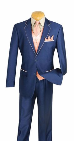 Michelangelo Collection - Shark Skin Classic Fit 3 Pieces 2 Buttons Single Pleated Pants Blue/Peach