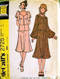 McCalls Junior dress sewing pattern illustrations, 1971.