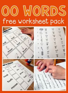 Worksheets for oo words