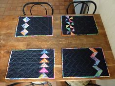 Reduce size for mug rugs Modern Placemats, Table Runner And Placemats, Table Runner Pattern, Quilted Table Runners, Square Placemats, Modern Table Runners, Small Quilt Projects, Quilting Projects, Sewing Projects