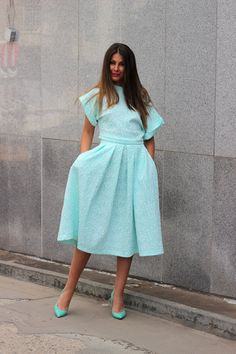 Mint Set of oversized top and maxi midi by cherryblossomsdress