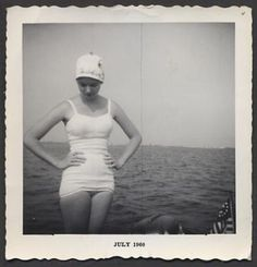 Vintage Photo Sunshine Pin Up Girl in Swimsuit