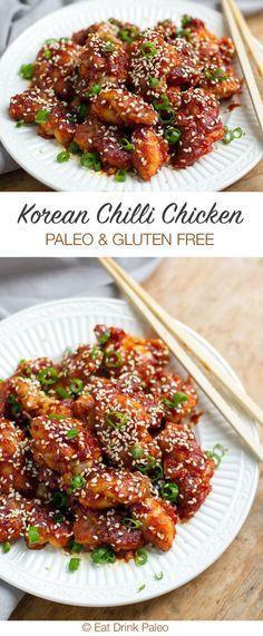 Korean Style Spicy Chicken (Paleo and Gluten-Free)   http://eatdrinkpaleo.com.au/paleo-koren-chilli-chicken-recipe/