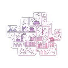 Showcase and discover creative work on the world's leading online platform for creative industries. Building Art, City Illustration, Japan Design, Doodle Designs, Line Design, Flat Design, Creative Industries, Graphic Design Inspiration, Sticker Design