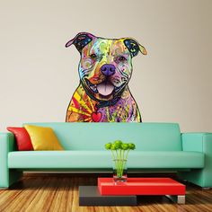 My Wonderful Walls Animal Pop Art by Dean Russo Beware of Pit Bulls Wall Sticker Cut Out, 13 by Multicolored -- To view further for this item, visit the image link. (This is an affiliate link) Wall Stickers Murals, Wall Decals, Wall Mural, Wall Art, Pop Art, Pitbulls, Dean Russo, Colorful Animals, Arte Pop