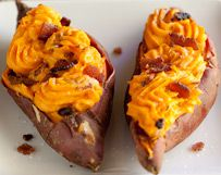 TWICE-BAKED CHEDDAR SWEET POTATOES - Looking for a new stuffed potato recipe? Try this one using organic sweet potatoes, Down in the Valley label bacon, and a nice sharp Wisconsin cheese, all available at VALLEY NATURAL FOODS in Burnsville, MN.