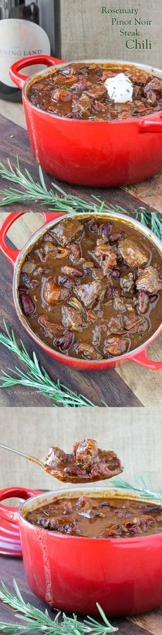 This flavorful Rosemary Pinot Noir Steak Chili is a spicy, hearty chili with tender pieces of steak and a hint of pinot noir and rosemary!: