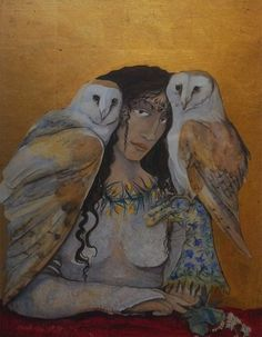 Blodeuwedd.Queen of the owls. Made from oak and broom and meadowsweet growing on the wild mountains of Wales to be a perfect bride, and then turned into an owl as a punishment for her infidelity.She was happy on the hillside being flowers and happy in the twilight being the soft hushwing night creature.Watercolour and gold leaf.  By Jackie Morris