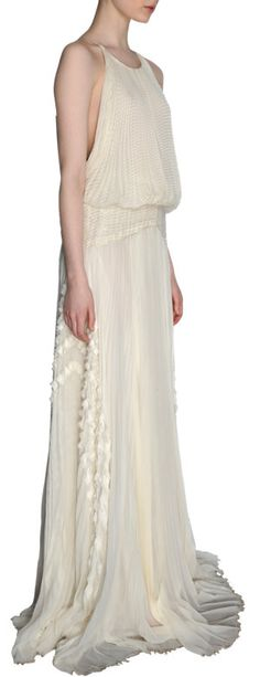 J. Mendel Pleated and Ruffled Halter Gown