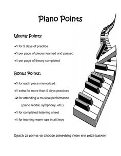 Piano Points practice incentive program. We actually did this at one of the studios I worked for and it was awesome! I want to change it up a little and do it for my students now