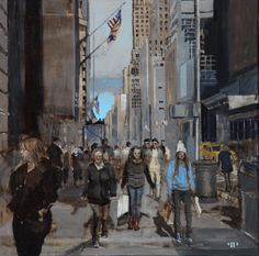 "Patrick Pietropoli, New York Street III, 2014, Oil on Linen, 20"" x 20"" #art #axelle #painting #nyc #streetscape #urban"