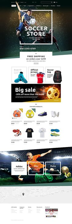 Template 55431 - Soccer Store  Responsive OpenCart Template