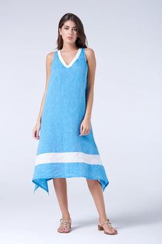 linen tunic dress Made in Italy midi dress summer dress mini dress shift linen dress beach dress beach cover up