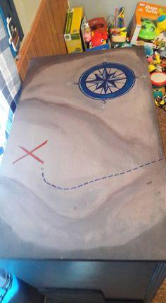 Treasure map I painted on a dresser redo for grandsons nautical/pirate nursery bedroom diy