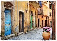 old streets of Italian villages Laptop Sticker - Themes