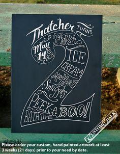 2nd Birthday - Second Birthday Chalkboard Sign - Birthday Signage - Two Years Old. $149.00, via Etsy.