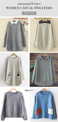 Plus Size Casual Lapel Pocket Pure Color Sweaters For Women. Cardigan  Sweaters For Women f6d4f0611